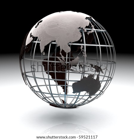 Glossy metallic globe continents on a metal grid facing South Asia and Australia - stock photo