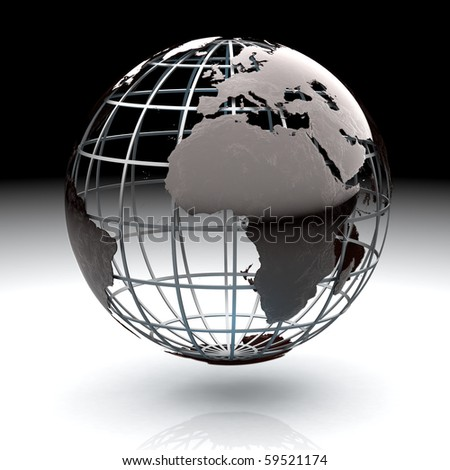 Glossy metallic globe continents on a metal grid facing the Atlantic and Africa - stock photo