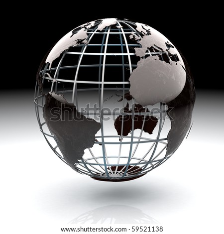 Glossy metallic globe continents on a metal grid facing the Atlantic Ocean - stock photo
