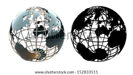 Glossy metallic globe continents on a metal grid facing the North Atlantic, America and Europe - with corresponding alpha mask - stock photo