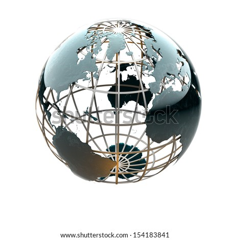 Glossy metallic globe continents on a metal grid facing the North Atlantic, America and Europe - stock photo