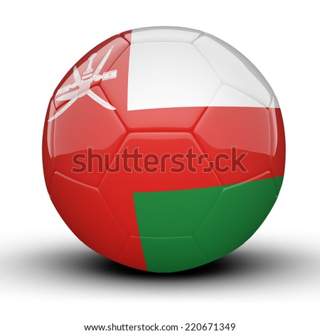 Glossy Oman football ball flag isolated on white background - stock photo
