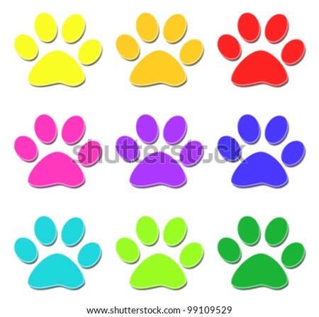 Glossy paw print - stock photo