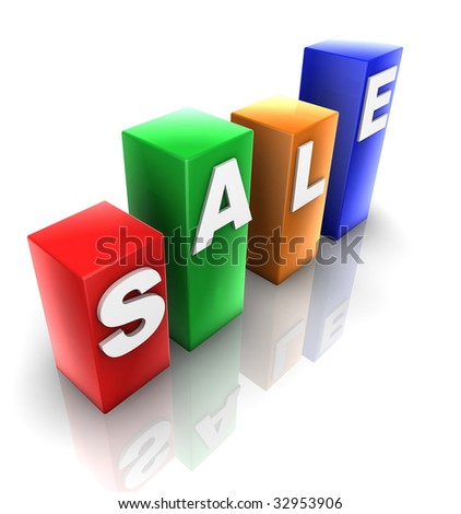 Glossy plastic metal cubes spelling out SALE