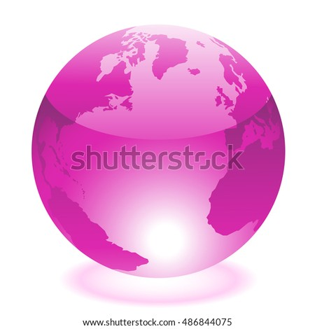 Glossy purple world isolated on white