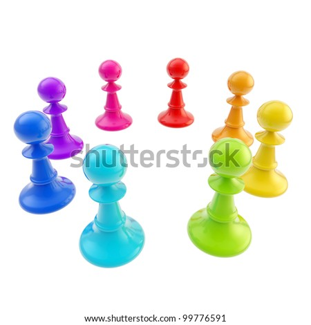 Glossy rainbow colored chess pawns stand in a circle isolated on white - stock photo
