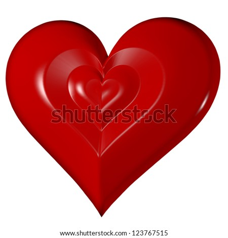 Glossy red heart on isolated on white background, front diagonal view, valentine's day symbol