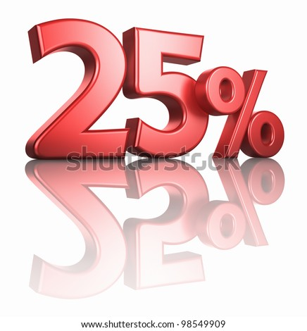 Glossy red twenty five percent on white background with mirror floor, 3d render 25% - stock photo