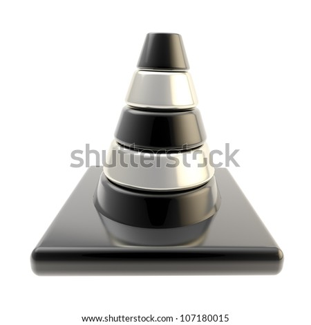 Glossy road cone colored black and silver isolated on white - stock photo
