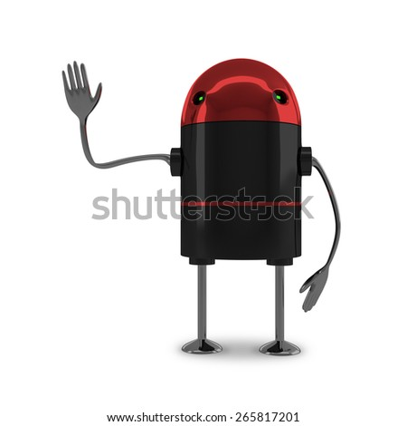 Glossy robot with red head, black body, metallic arms and legs saying stop or making warning gesture isolated on white background