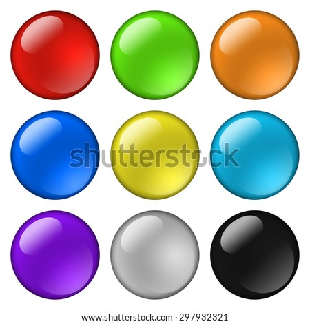Glossy round buttons for icons. Isolated on white
