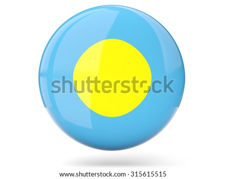 Glossy round icon with flag of palau - stock photo
