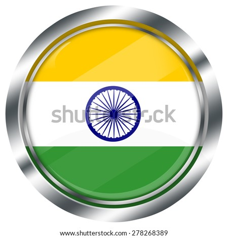 glossy round indian flag button for web design with metallic border, illustration, white background, isolated,  - stock photo