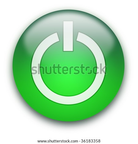 Glossy round On / Off button isolated over white background - stock photo