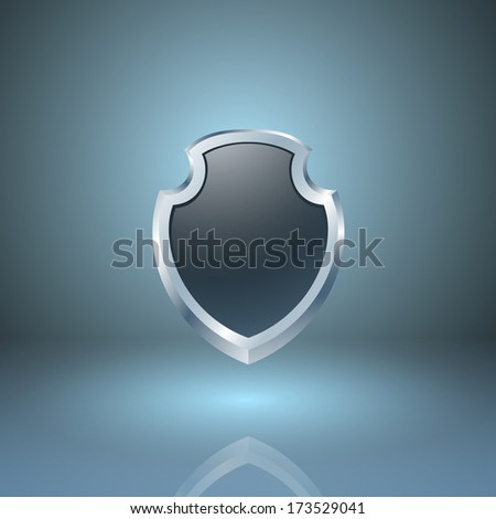 Glossy shield icon. Raster version. - stock photo
