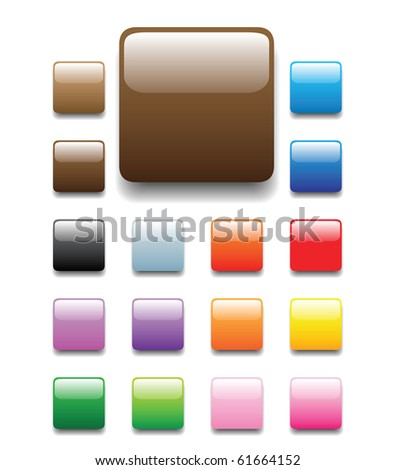 glossy, shiny candy looking square tabs for website, internet, design and other usage. Please check round and elongated tube sets which are available in my profile. - stock photo