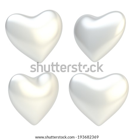 Glossy silver heart shape isolated over the white background, set of four foreshortenings - stock photo