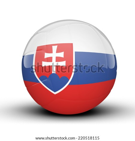 Glossy Slovakia volleyball ball flag isolated on white background