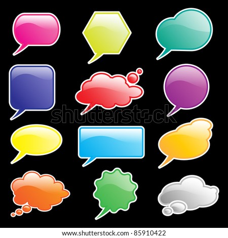 Glossy speech and think bubbles isolated on black. Space for your text. Also available in vector format - stock photo