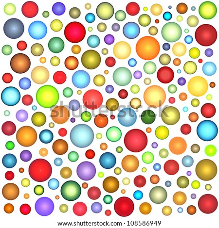 glossy sphere bubble pattern in multiple color on white - stock photo
