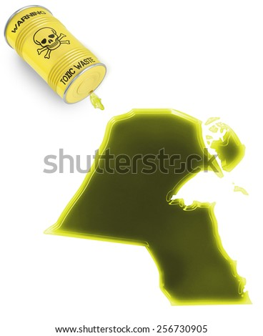 Glossy spill of a toxic substance in the shape of Kuwait (series) - stock photo