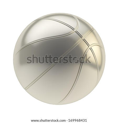 Glossy steel metal basketball ball 3d render isolated over white background - stock photo