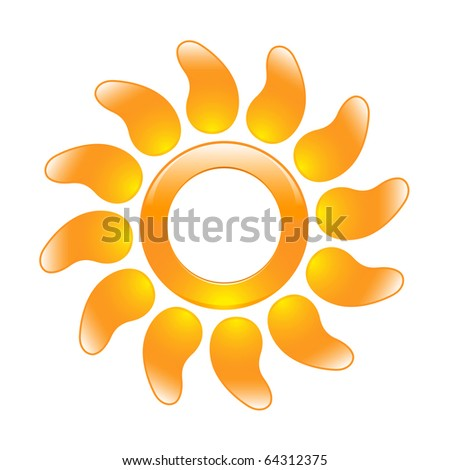 Glossy sun icon in the form of a ring and with curved rays. Raster version of vector illustration (id: 59760757) - stock photo