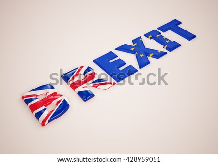 Glossy three-dimensional inscription Br Exit on dimensional background. 3D illustration. - stock photo