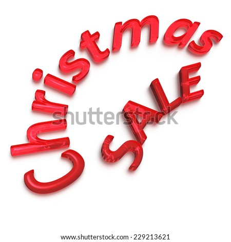 Glossy three-dimensional inscription Cristmas Sale as a sign. - stock photo