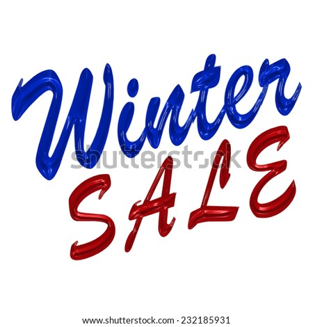 Glossy three-dimensional inscription Winter Sale as a sign. - stock photo