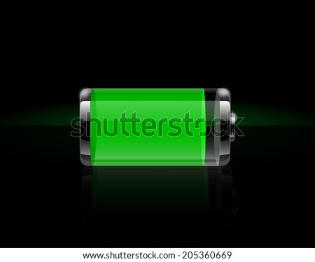 Glossy transparent battery icons. Full green battery on black background. Raster version