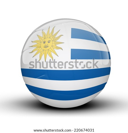 Glossy Uruguay volleyball ball flag isolated on white background - stock photo