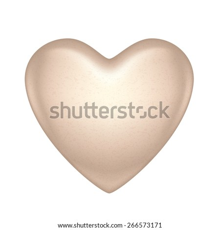 Glossy vector white chocolate heart bonbon. Good for Valentine' day design. - stock photo