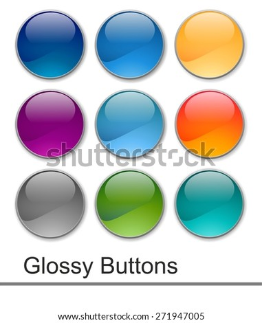 Glossy web buttons - stock photo