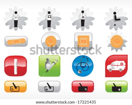 glossy web 2.0 style medical icon series  set - stock photo