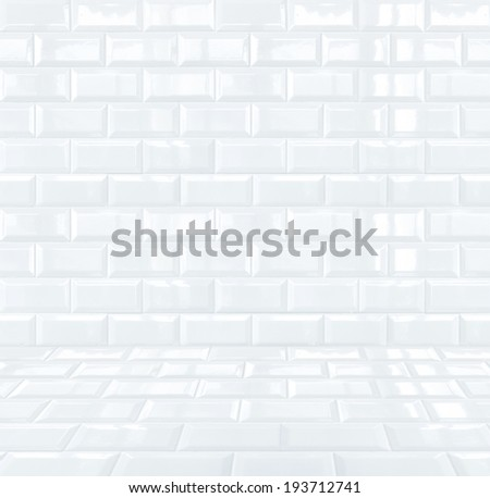 Glossy White Ceramic brick tile room - stock photo