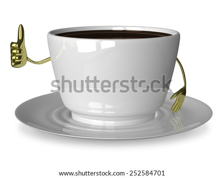 Glossy white cup of coffee or tea character giving thumb up isolated on white