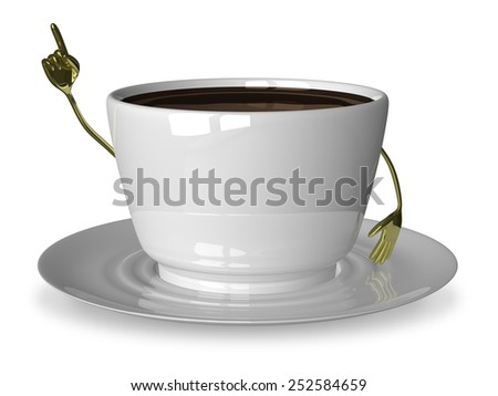 Glossy white cup of coffee or tea character in moment of insight isolated on white - stock photo
