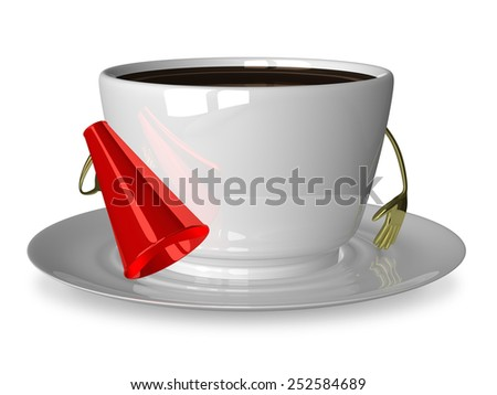 Glossy white cup of coffee or tea character with megaphone isolated on white - stock photo
