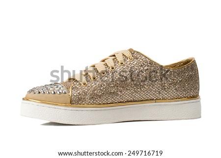 Glossy women shoe isolated on white background.  - stock photo