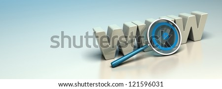 Glossy WWW 3D letters written onto a blue and beige background with a magnifier including a blue target. Symbol of search engine optimization or web analysis. Horizontal banner. - stock photo
