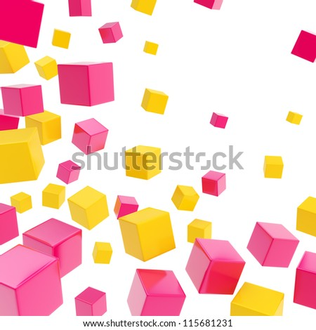 Glossy yellow and magenta cube copyspace composition over white background as abstract backdrop - stock photo