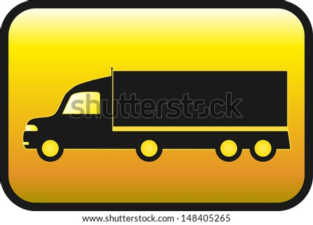 glossy yellow button with american truck  - stock photo