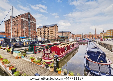 Gloucester, England, UK: 17 April 2011 - The Victoria Basin at the restored Gloucester Docks.