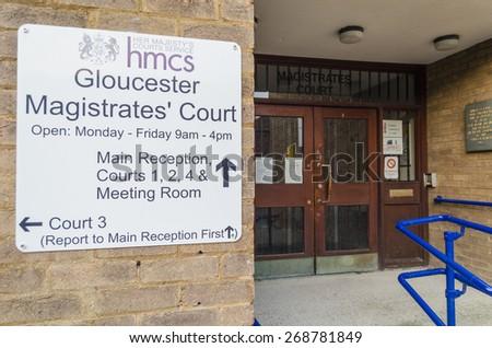 Gloucester, Gloucestershire - April 09 2015: City of Gloucester Magistrates Court building - stock photo