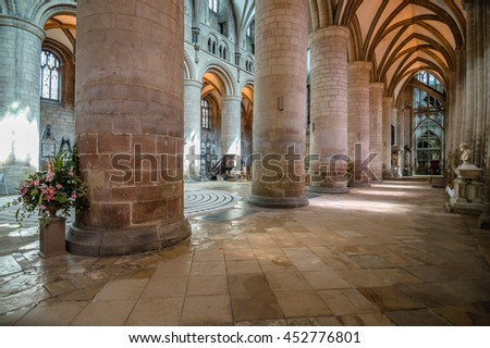 Gloucester, UK - August 17, 2015: Interior of Cathedral Church of St Peter and the Holy and Indivisible Trinity. Gothic style.