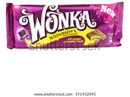 GLOUCESTER, UK - MAY 4, 2014: Wonka Chocolate Bar, Millionaire's Shortbread - on a white background - stock photo
