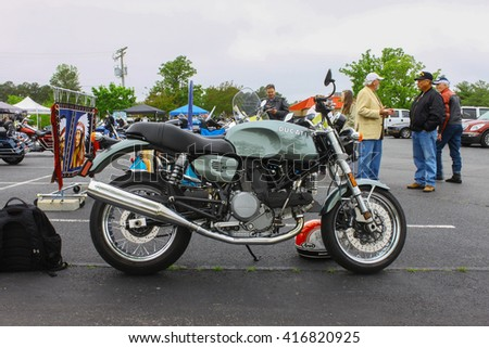 GLOUCESTER, VA - April 30, 2016: A Ducati motorcycle at the 2nd Run for the Son Motorcycle show, the Run for the Son Motorcycle show is Sponsored by Jaxwax and is held once each year.