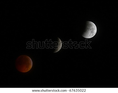 GLOUCESTER VA - DECEMBER 21: A Historic Lunar Eclipse coinciding with the winter solstice seen in the night sky on Dec. 21, 2010 in Gloucester Virginia - stock photo