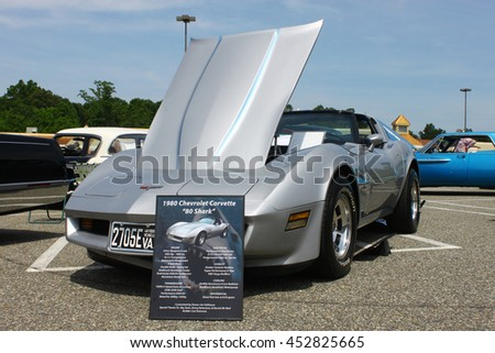 GLOUCESTER, VA - JULY 9, 2016: A 1980 Chevrolet Shark corvette at the Collector Car Appreciation Day Car Show sponsored by the Middle Peninsula Classic Cruisers car club. - stock photo